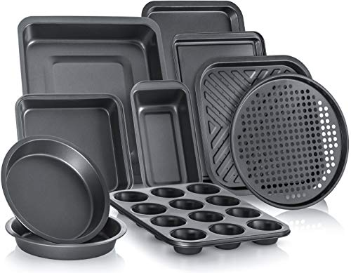 (FROM USA) PERLLI 10-Piece Non-Stick Bakeware Set, Includes Oven Crisper, Pizz
