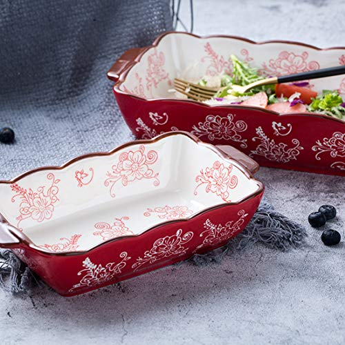 (FROM USA) Porcelain Rectangle Baking Dish Set of 2, Floral Pizza Pie Cheese S