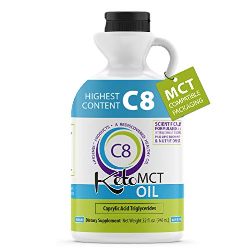 (FROM USA) Premium 100% C8 Keto MCT oil Sourced from Coconut Oil, 32 oz, Custo