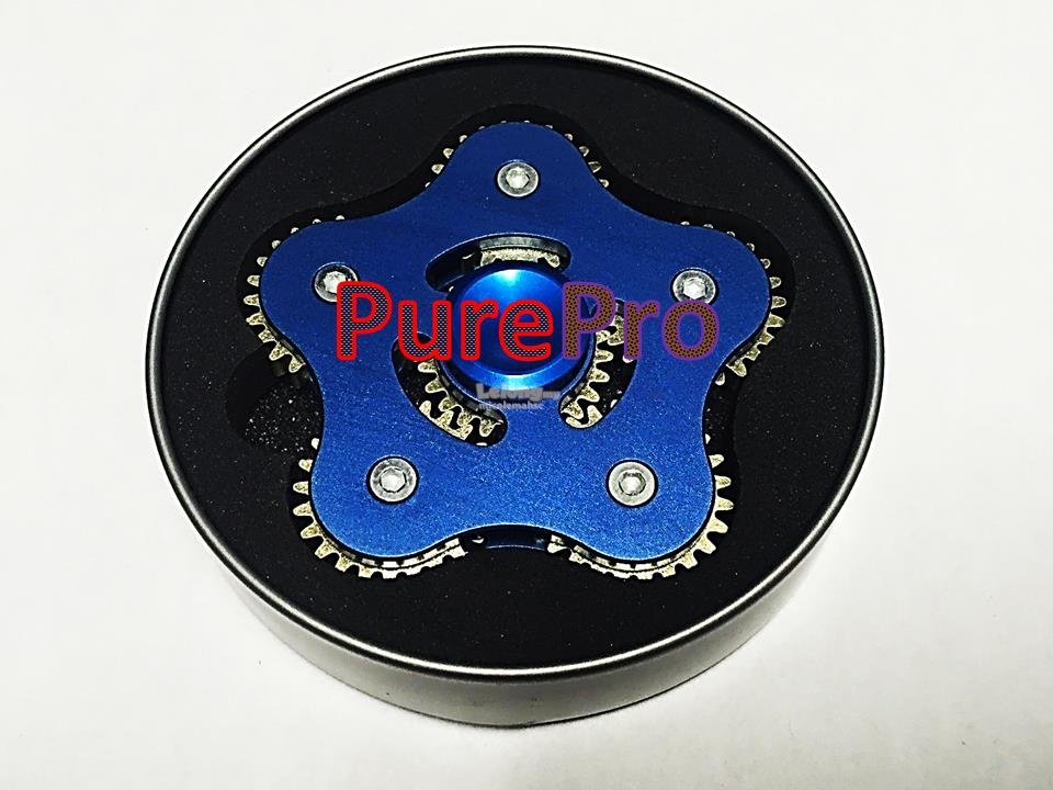 USA Premium Stock Rainbow 6 Gear Blue Spinner Fidget Cube Stick Brass