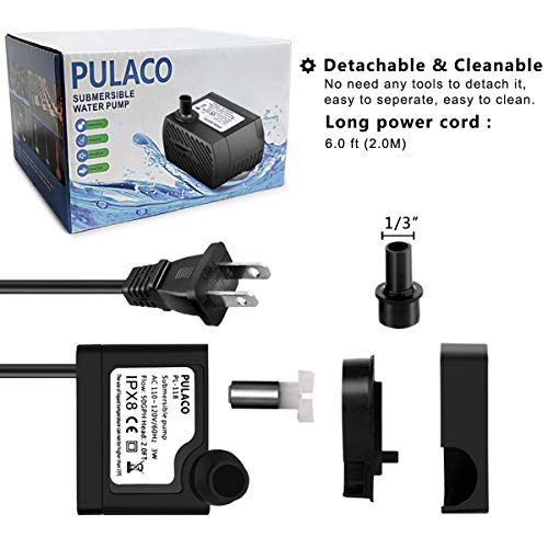 (FROM USA) PULACO 50GPH 3W Mini Submersible Water Pump for Aquariums, Fish Tan