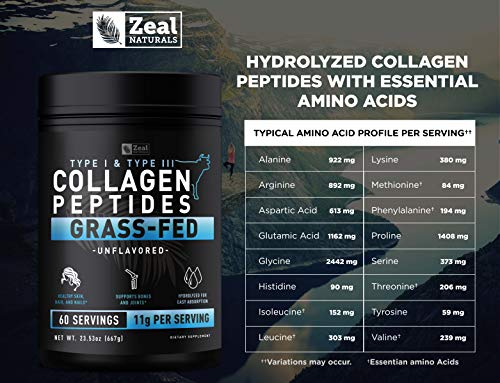 (FROM USA) Pure Collagen Peptides Powder (11g | 60 Servings) Grass Fed Pasture