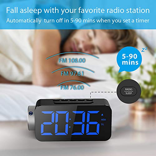 "(FROM USA) Quntis Projection Alarm Clock 6.5"" Dimmable LED Display Digital A"