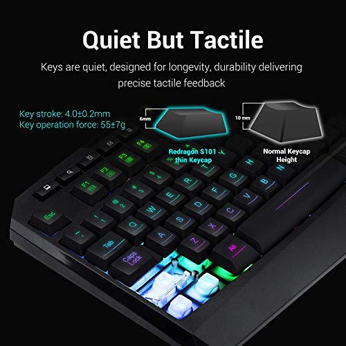 From USA Redragon S101 Wired RGB Backlit Gaming Keyboard and Mouse, Gaming Mou