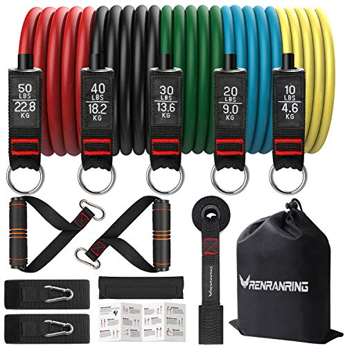 From USA RENRANRING Resistance Bands Set, Exercise Bands with Stackable Workou