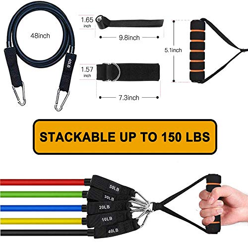 From USA Resistance Bands with Handles - 14 Pack Exercise Bands Set Workout Ba