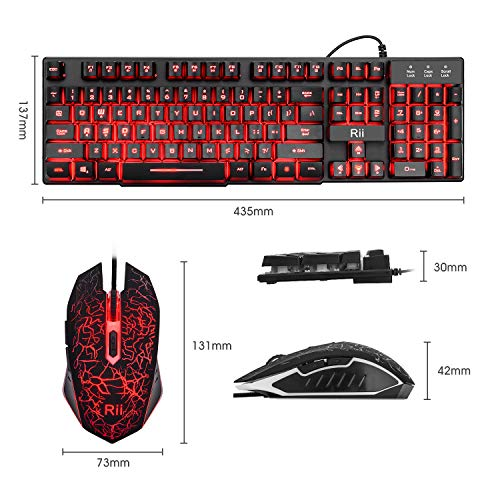 From USA Rii Gaming Keyboard and Mouse Set, 3-LED Backlit Mechanical Feel Busi