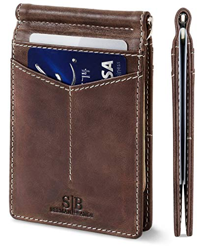 (FROM USA) SERMAN BRANDS RFID Blocking Wallet Slim Bifold - Genuine Leather Mi
