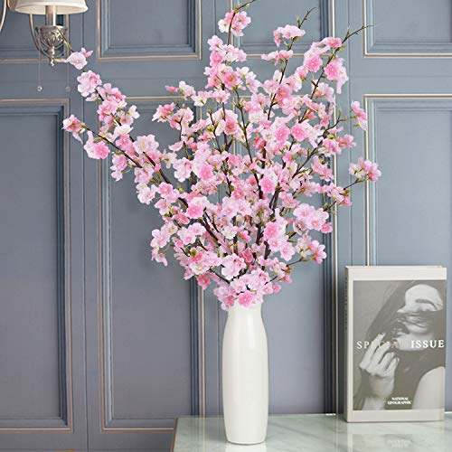 (FROM USA) Shiny Flower 4PCS Artificial Cherry Blossom Flowers, Silk Peach Flo