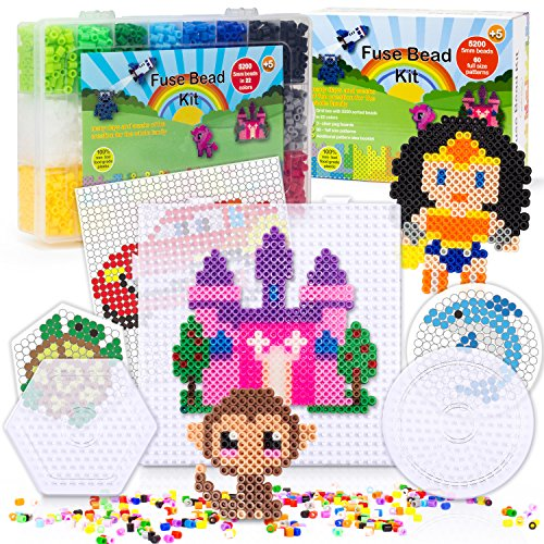 [USA Shipping]5200 Fuse Bead Set for Kids 5mm 22 Colors 80 Full Size Patterns