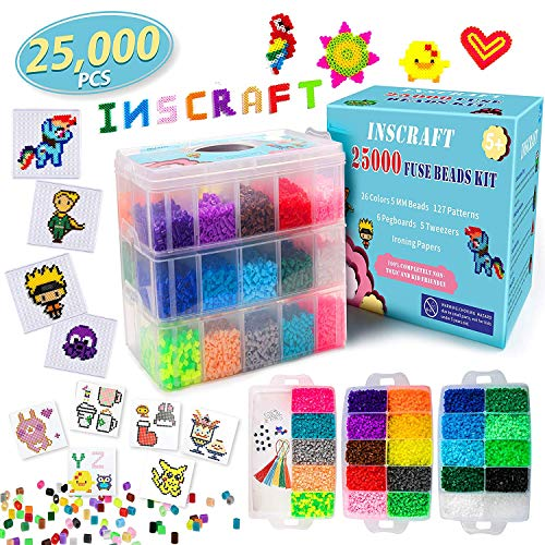 [USA Shipping]Fuse Beads 25000 pcs Fuse Beads Kit 26 Colors 5MM Including 127