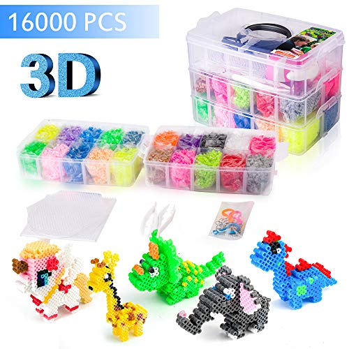 [USA Shipping]Upgrade 3D Perler Beads Kits16000 pcs Fuse Bead Kits 20 Colors (