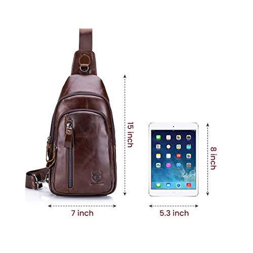 (FROM USA) Sling Bag, Leather Chest Bag Crossbody Shoulder Business Backpack O