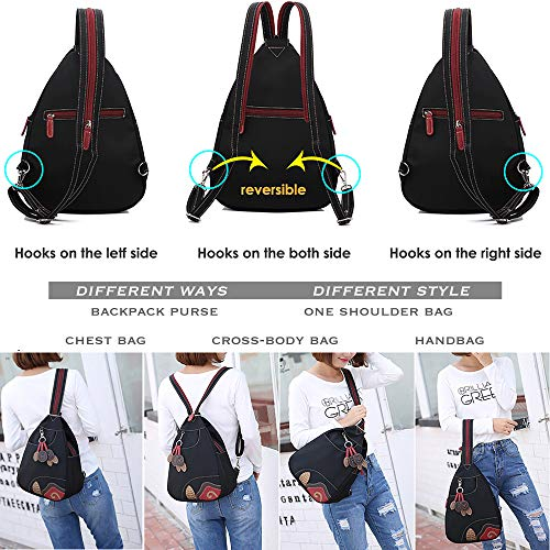 From USA Sling Waterproof Nylon Backpack for Women - 2 Way Convertible Crossbo