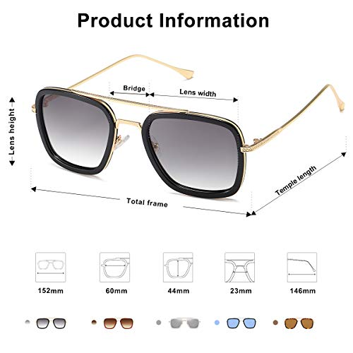 From USA SOJOS Polarized Sunglasses for Men Women Retro Aviator Square Goggle