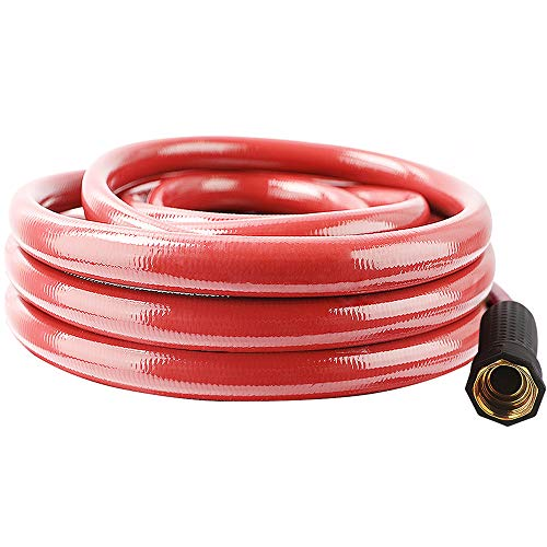From USA Solution4Patio Homes Garden Hose No Kink 5/8 in. x 25 ft. Red Water H