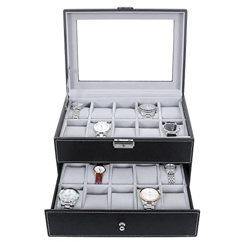 From USA SONGMICS Watch Box 20 Mens Case Glass Top Black and Gray Display Orga