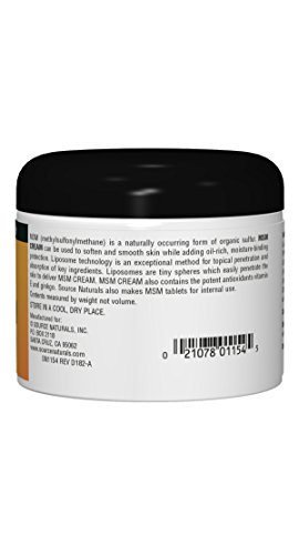 (FROM USA) Source Naturals MSM Cream, Advanced Liposomal Delivery, 4 Ounces
