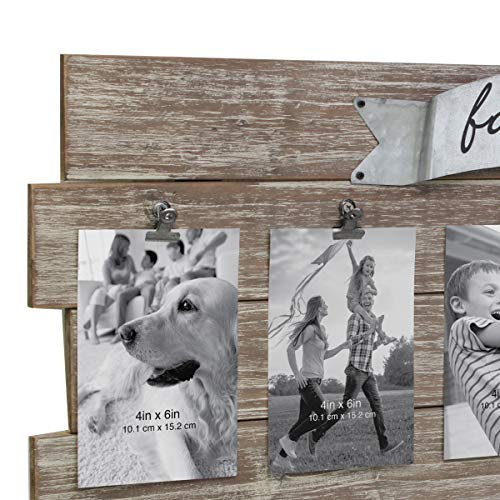 (FROM USA) Stonebriar Rustic Wood Collage Picture Frame with Clips and Metal D