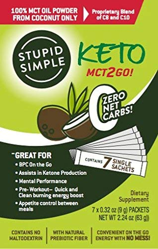 (FROM USA) Stupid Simple Keto MCT2Go! 100% MCT Oil Powder from Coconut C8 and