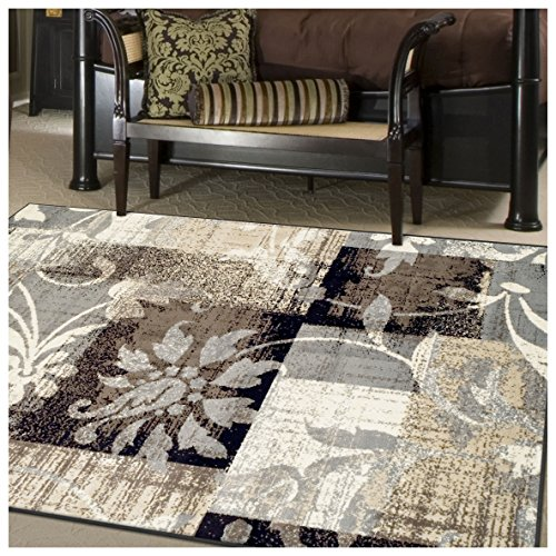 (FROM USA) Superior Designer Pastiche Area Rug, Distressed Geometric Floral Pa