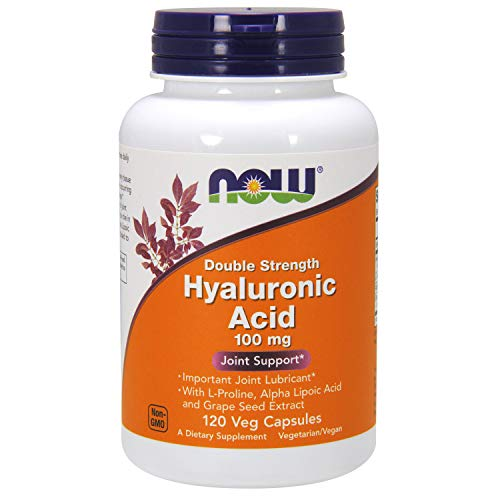 (FROM USA) NOW Supplements, Hyaluronic Acid, Double Strength 100 mg, with L-Pr