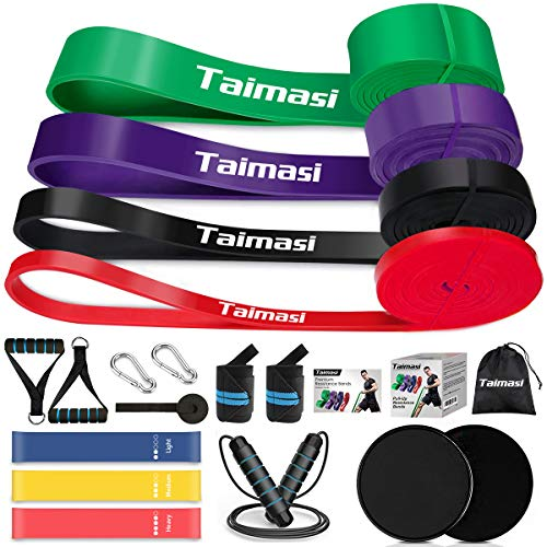 From USA TAIMASI 19PCS Resistance Bands Set Workout Bands - 5 Pull Up Bands, 5