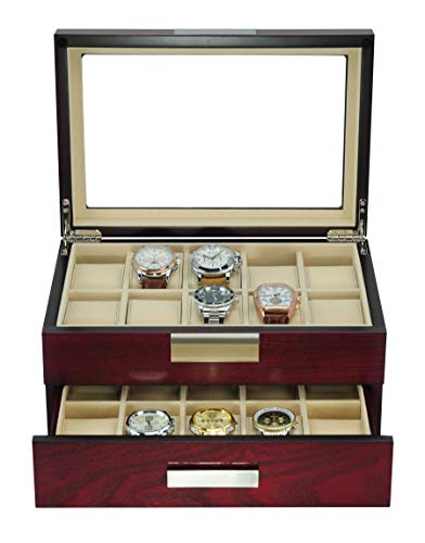 From USA TIMELYBUYS 20 Cherry Wood Watch Box Display Case 2 Level Storage Jewe
