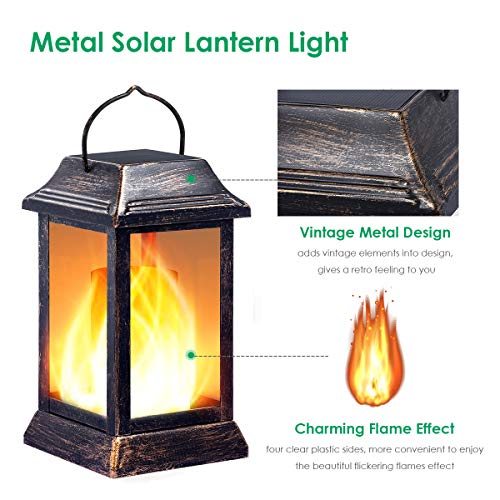 From USA TomCare Solar lights Metal Flickering Flame Solar Lantern Outdoor Han