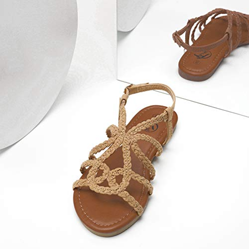 From USA Trary Braided Strap Open Toe Summer Flat Sandals for Women
