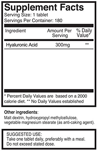 (FROM USA) Triple Strength Hyaluronic Acid 300mg x 720 Tablets (4 Bottles with