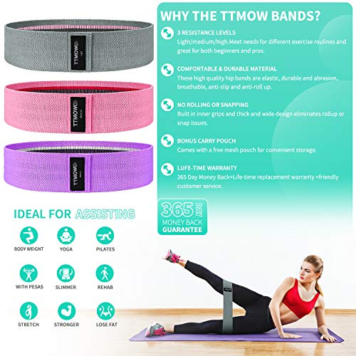 From USA TTMOW Booty Bands for Women, Non Slip Resistance Bands Set, Elastic F