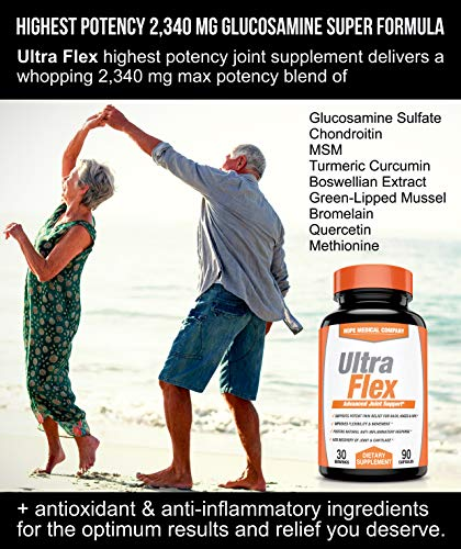 (FROM USA) Ultra Flex Glucosamine Chondroitin MSM Turmeric 2340mg - Joint Heal
