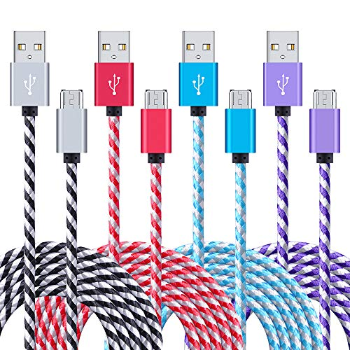 [From USA]USB Cable Android 4-Pack 6ft Long Samsung Fast Charger Cord Sync Mic