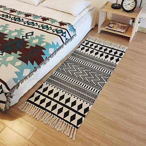 (FROM USA) USTIDE Cotton Tassel Kilim Black &Cream Laundry Room Boho Rug Hand