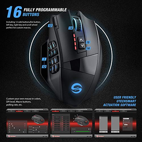 From USA UtechSmart Venus Pro RGB Wireless MMO Gaming Mouse, 16,000 DPI Optica