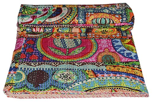 [From USA]V Vedant Designs Indian Patch Work Cotton Kantha Quilt Twin Bedsprea