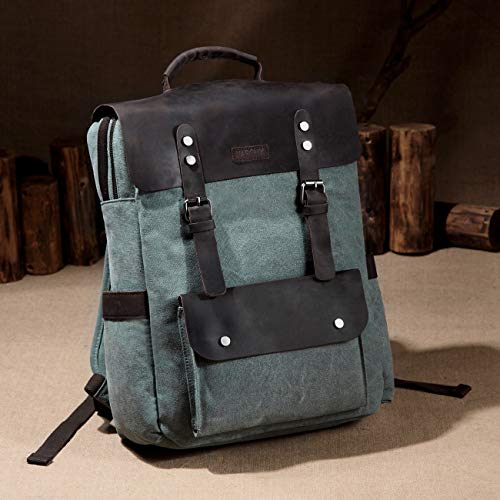 (FROM USA) Vaschy Vintage Leather Backpack for Men Canvas Rucksack Bookbag Day