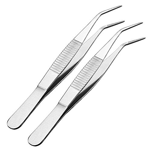 [From USA]VictorsHome 5-1/2 Inch Stainless Steel Tweezers with Curved Serrated