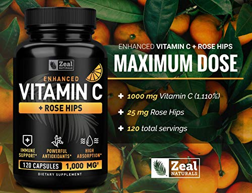 From USA Vitamin C 1000mg with Rosehips (120 Capsules | 1000mg) Pure Vitamin C
