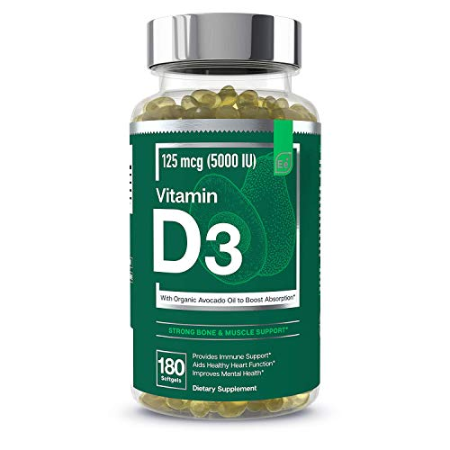(FROM USA) Vitamin D3 5000 IU Softgels with Organic Avocado Oil to Boost Absor