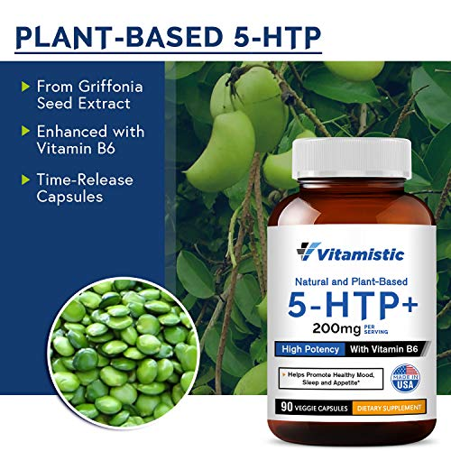 (FROM USA) Vitamistic 5-HTP 200mg 90 Time-Release Veggie Caps, From Griffonia