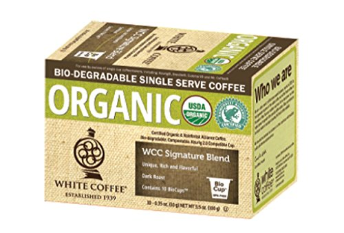 (FROM USA) White Coffee Organic Single Serve Coffee, WCC Signature Blend, 10 C