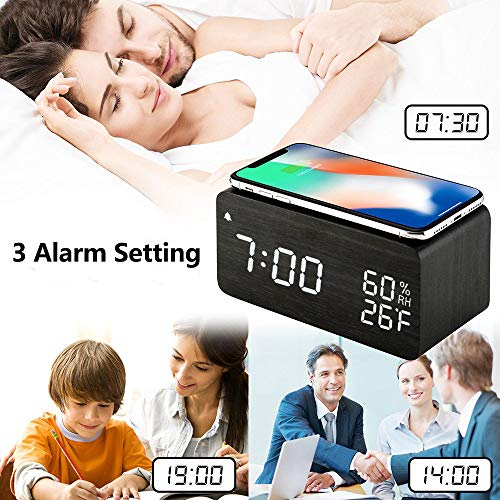 (FROM USA) Wooden Digital Alarm Clock with Wireless Charging, 3 Alarms LED Dis