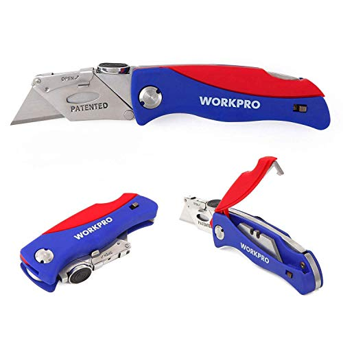 (FROM USA) WORKPRO Folding Utility Knife Quick-change Box Cutter, Blade Storag