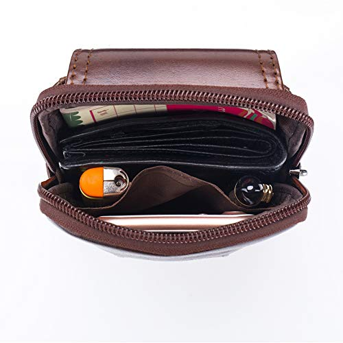 (FROM USA) X-xyA Genuine Leather Belt Bag for Men, Fanny Bag Waist Pack Cigare