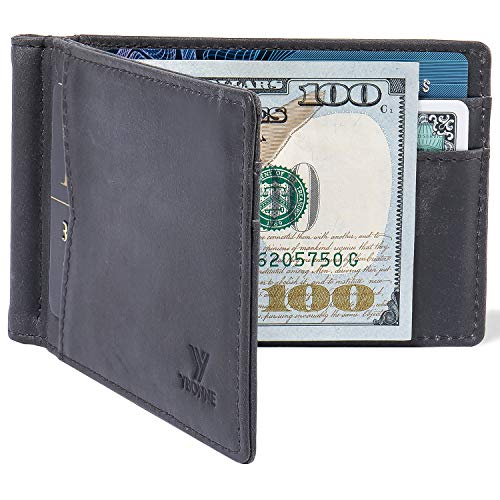 (FROM USA) YBONNE Mens New Slim Wallet with Money Clip Front Pocket RFID Block