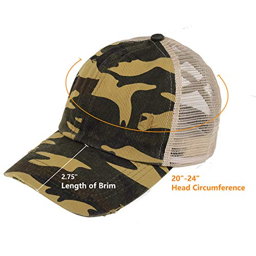 (FROM USA) ZERDOCEAN Unisex Baseball Cap, Distressed Ponytail Messy Bun Criss