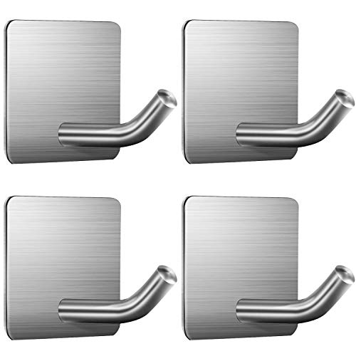 [From USA]ZUNTO Towel Hooks Adhesive Hook - 4 Packs Self Adhesive 3M Hooks Sti