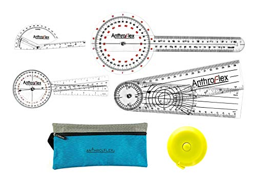 [USAmall] AnthroFlex 6 Piece Goniometer Set with 4 Goniometers, Tape Measure,
